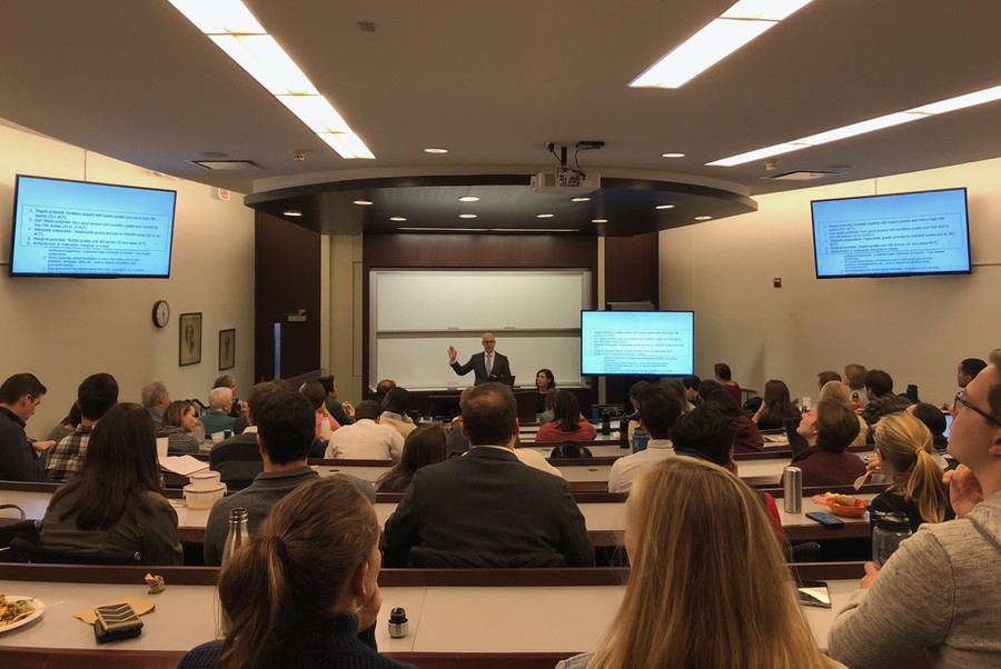Law School lecturer Adam Mortara, lead trial counsel representing plaintiffs in Students for Fair Admissions v. Harvard, speaks at a UChicago Federalist Society talk.