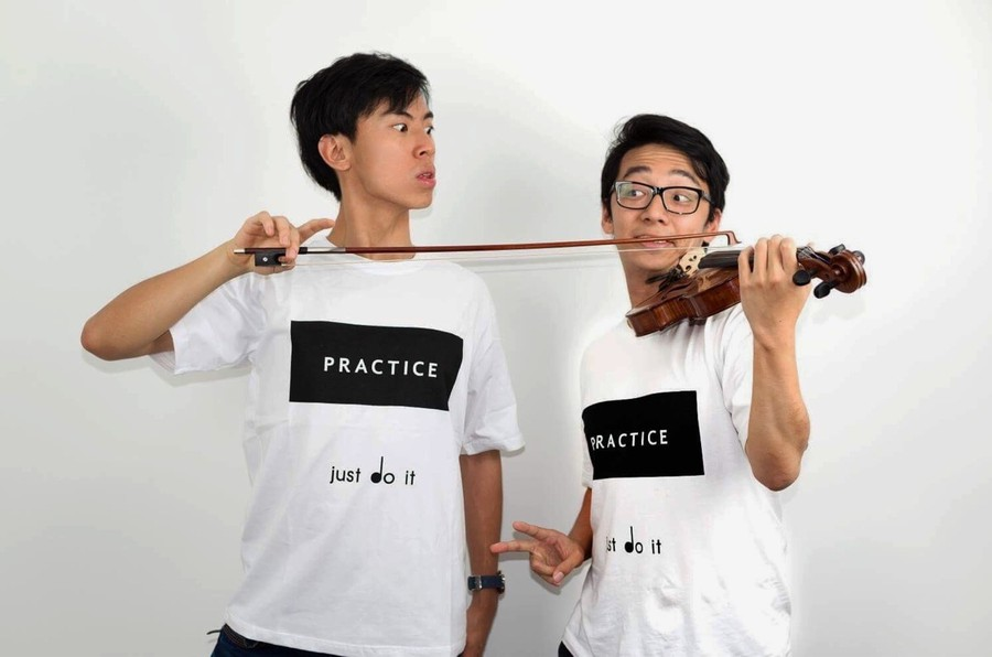 Eddy Chen (left) and Brett Yang (right) form the Australian comic/musician duo TwoSet Violin.