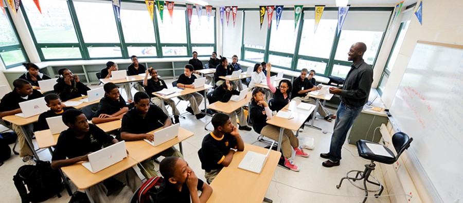 A classroom at UChicago Charter's Carter G. Woodson campus