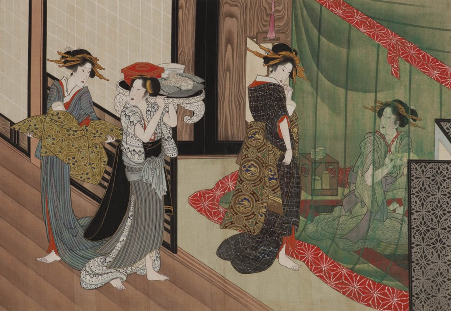 """A painting from """"One Hundred Looks of Various Women,"""" 1816, by Utagawa Toyokuni"""
