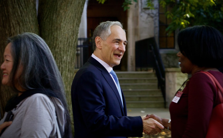 President Robert Zimmer meets with parents at a reception during O-Week.