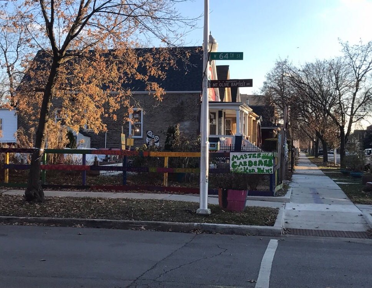 """The I Grow Chicago community garden across the street from the """"Peace House"""" in Englewood."""