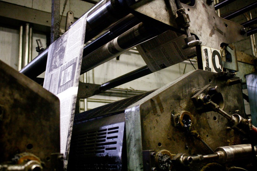 Issues run through the press at Litho Type LLC in Lansing, IL, where The Maroon is printed.