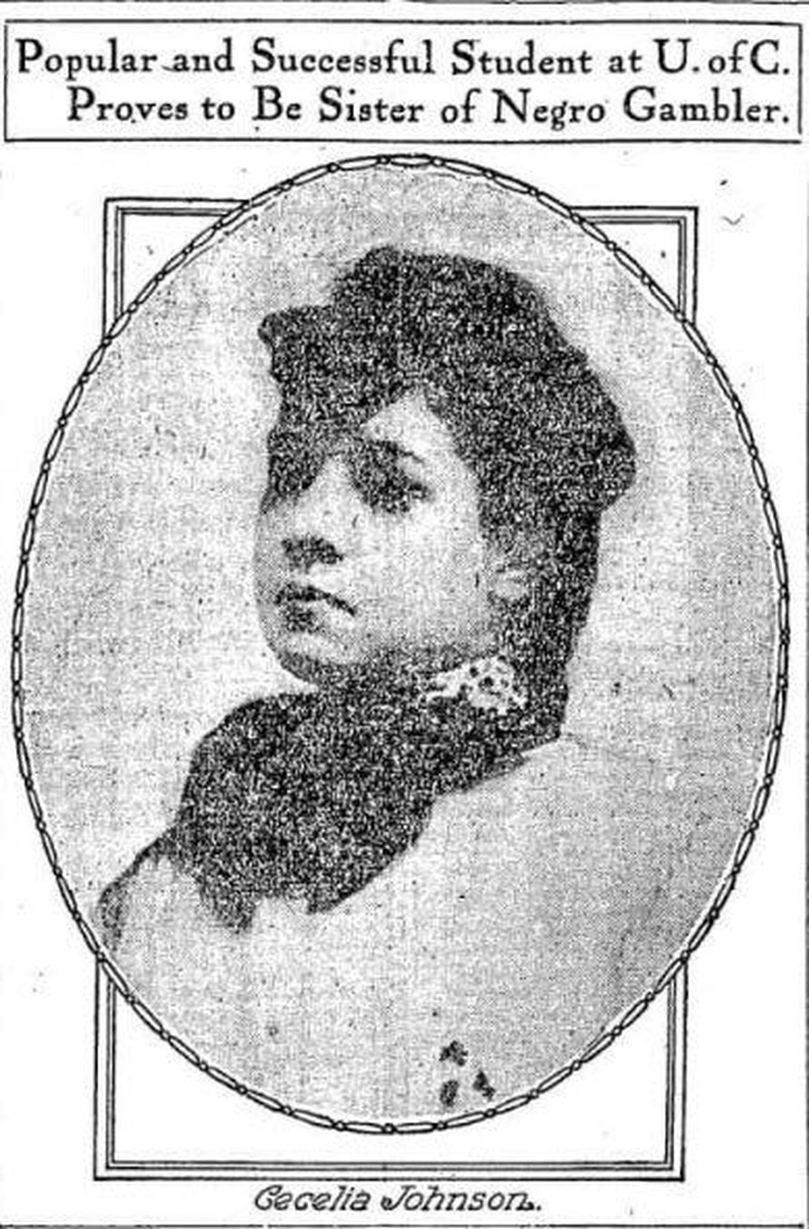 Cecilia Johnson, as depicted in a June 1907 issue of the Chicago Tribune.