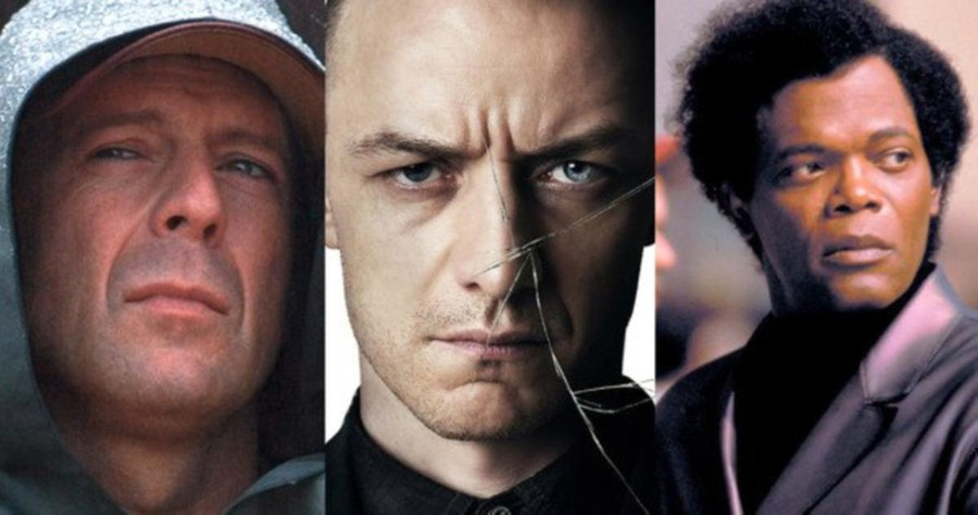 "Bruce Willis as David Dunn, James McAvoy as Kevin, and Samuel L. Jackson as Mr. Glass in ""Glass"""