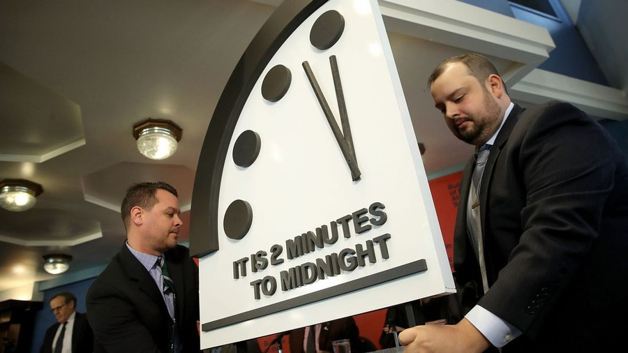 The Bulletin of Atomic Scientists announced the status of the Doomsday Clock at he National Press Club in Washington, D.C.