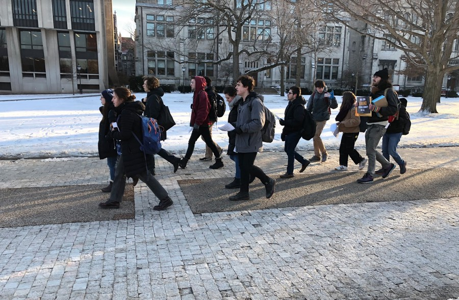 Organizers from If Not Now, a progressive Jewish organization, marched from the Quad to UChicago Hillel to demand changes to Hillel's Birthright trip.
