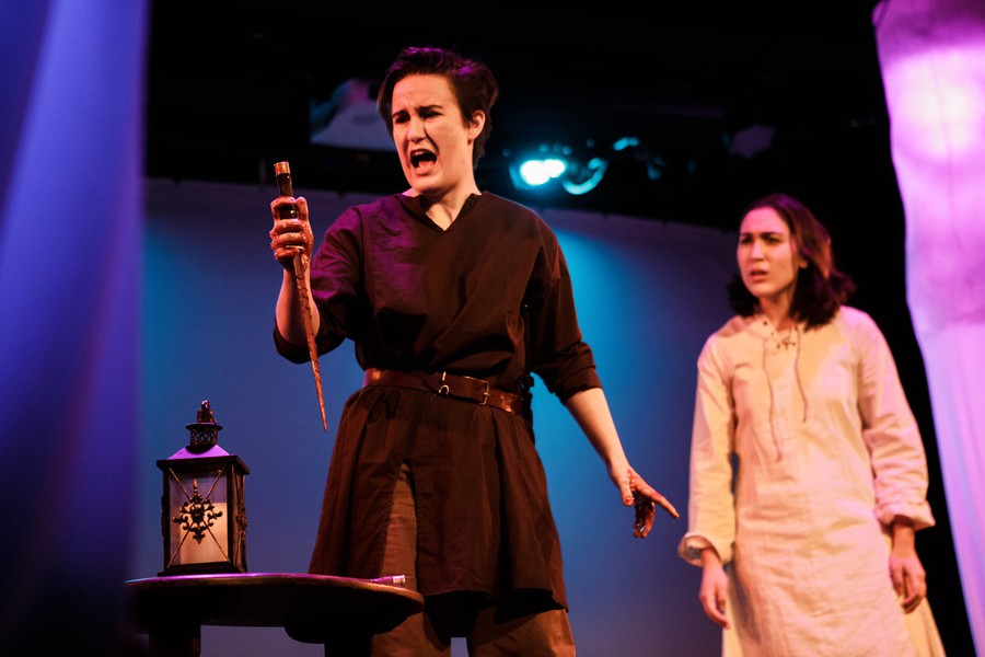 The Dean's Men production is anchored by stellar performances by Sadie Seddon-Stettler as Macbeth (left) and Isabella Hurtado as Lady Macbeth (right).