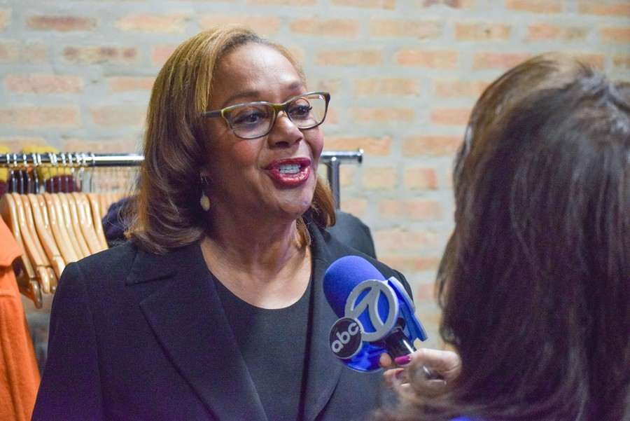 Leslie Hairston speaks to media on election night, February 26, 2019.