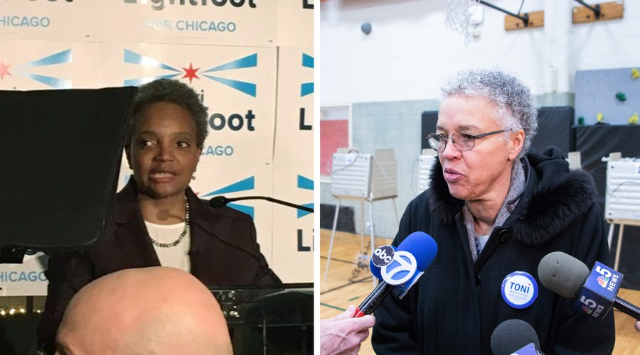 Alums Lori Lightfoot (left) and Toni Preckwinkle (right) will head to a runoff. Lightfoot is pictured at her party at EvolveHer in River North, and Preckwinkle is pictured after voting at Beulah Shoesmith Elementary School.
