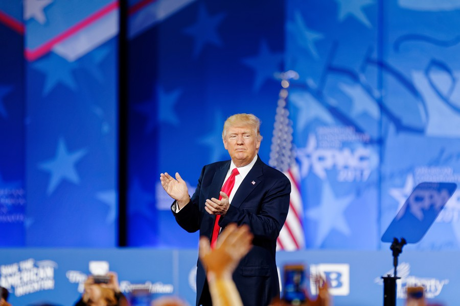 President Trump on stage at CPAC in 2017.