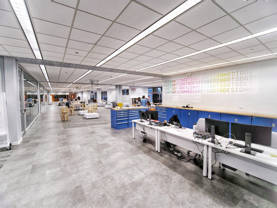 Work space in the new Medial Arts, Data, and Design Center in Crerar