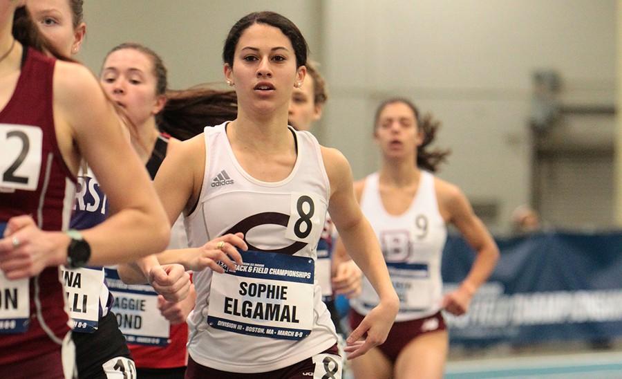 Second-year Sophie Elgamal runs in the 3000-meter final.