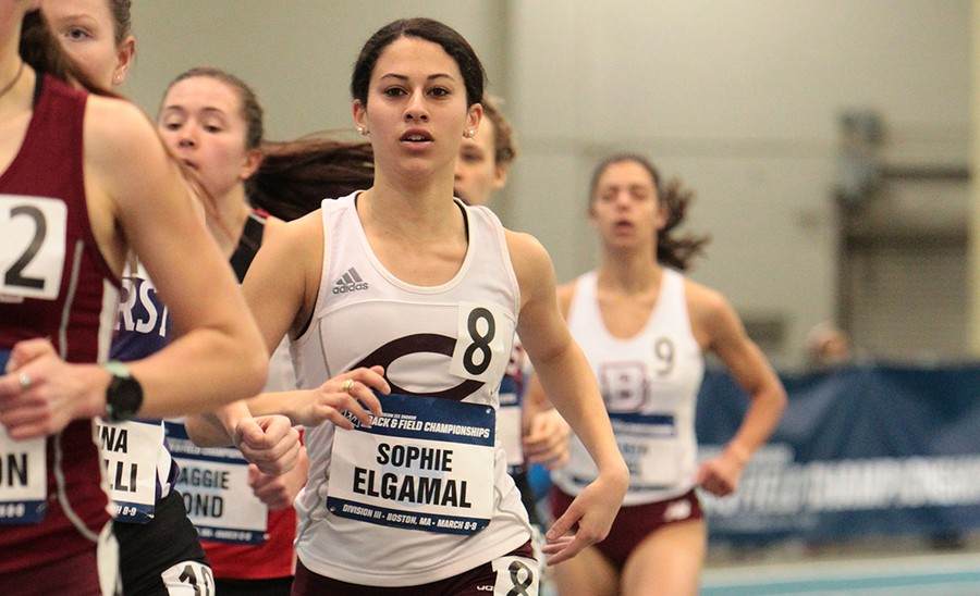 Second-year Sophie Elgamal runs in the 3000-meter final.
