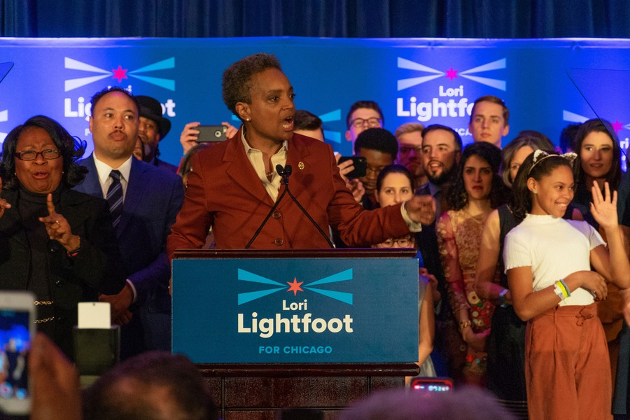 Lightfoot speaks at her campaign party in South Loop.