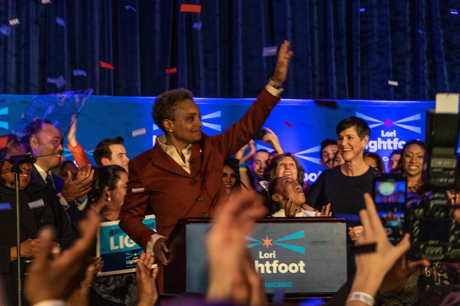 Lightfoot celebrating at her campaign party in South Loop.