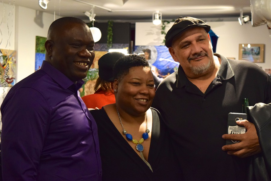 Jeanette Taylor poses with supporters on Tuesday night.
