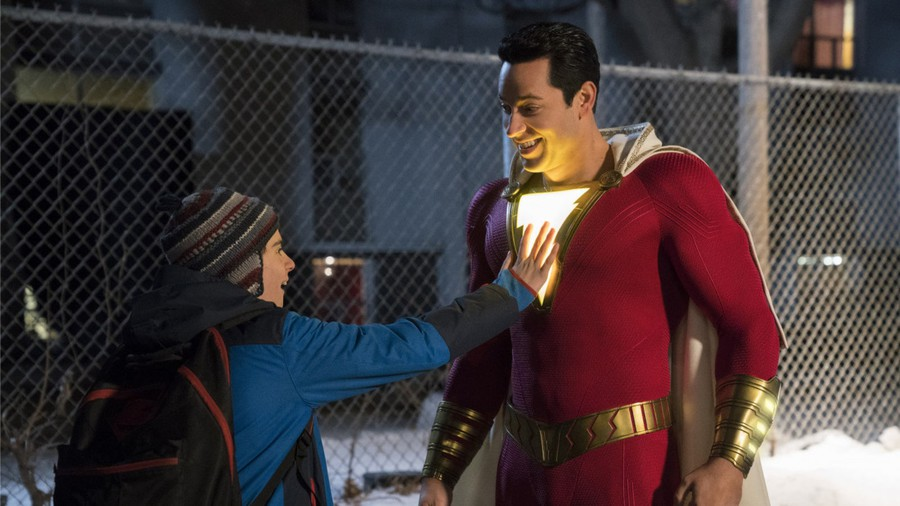 "Jack Dylan Grazer as Freddie and Zachary Levi as the adult Billy in ""Shazam!"""
