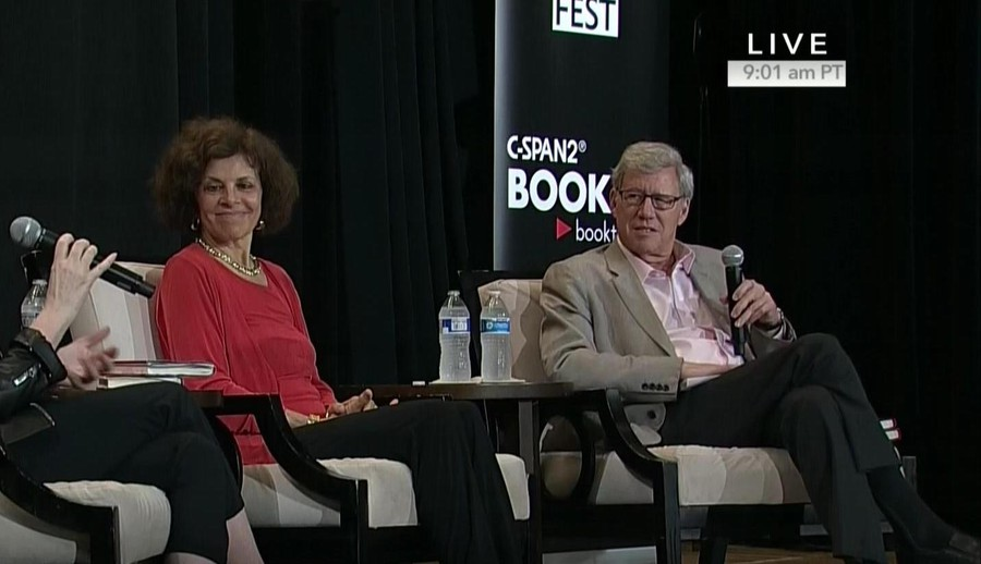 Nadine Strossen and Geoffrey Stone at a literary event last year talking about Strossen's book