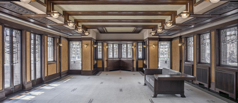 The interior of the Robie House was restored to its original state, and much of the furniture designed for the house by architect Frank Lloyd Wright was returned to the building.