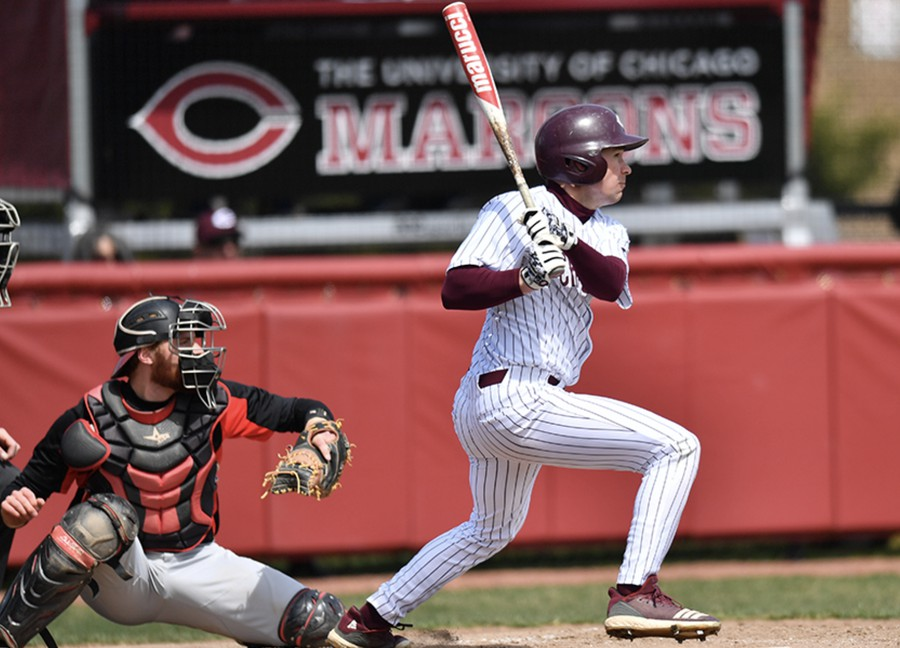 Connor Hickey, the Maroons' new all-time scored runs leader, notches a hit against Ripon.