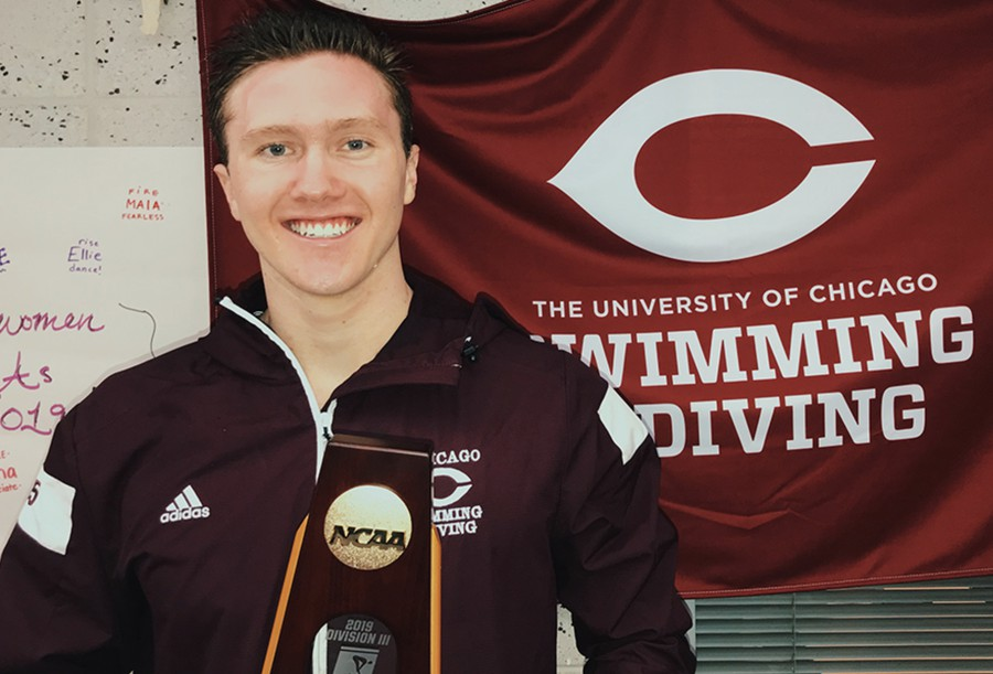 Third-year Byrne Litschgi poses with his national championship trophy at the NCAA Championship in Greensboro, NC.