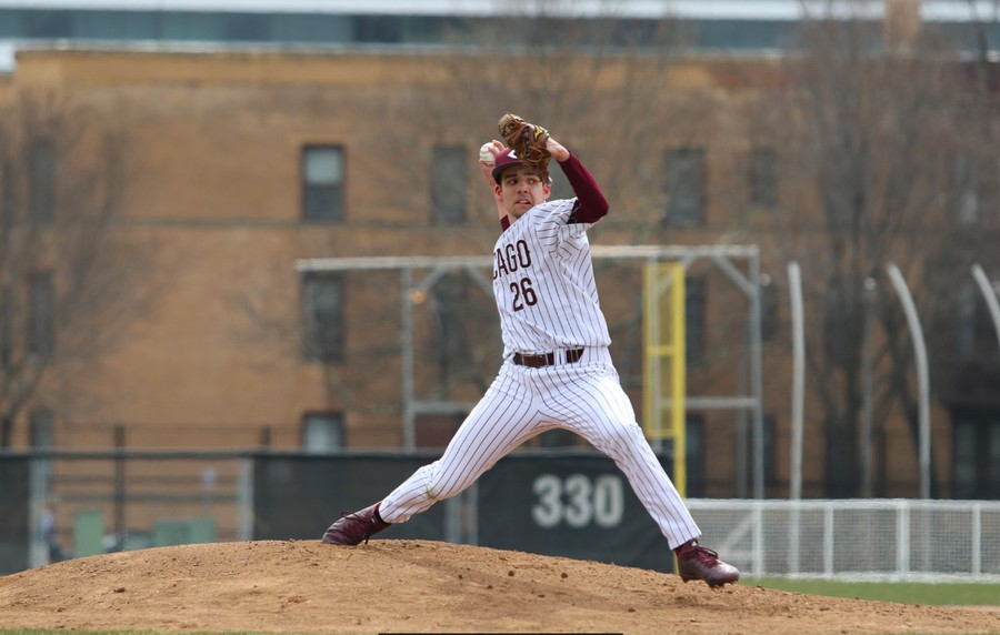 Joe Liberman pitching in a 2019 game. Courtesy of UChicago Athletics.