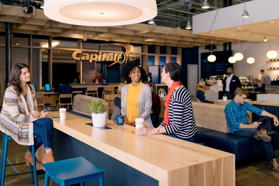 Capital One's bank cafés sell Peet's Coffee and offer free Wi-Fi.