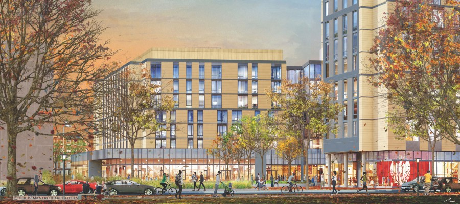 A rendering of Woodlawn Residential Commons, currently under construction.