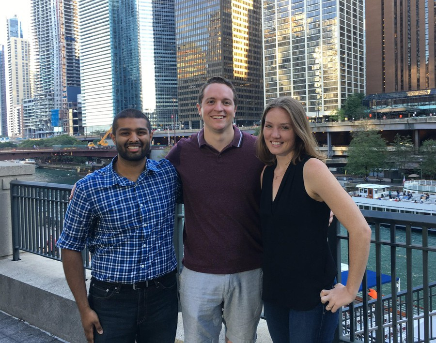 The founders of MeaningFull Meals. From left: Ashray Reddy, Connor Blankenship, and Rebekah Krikke.