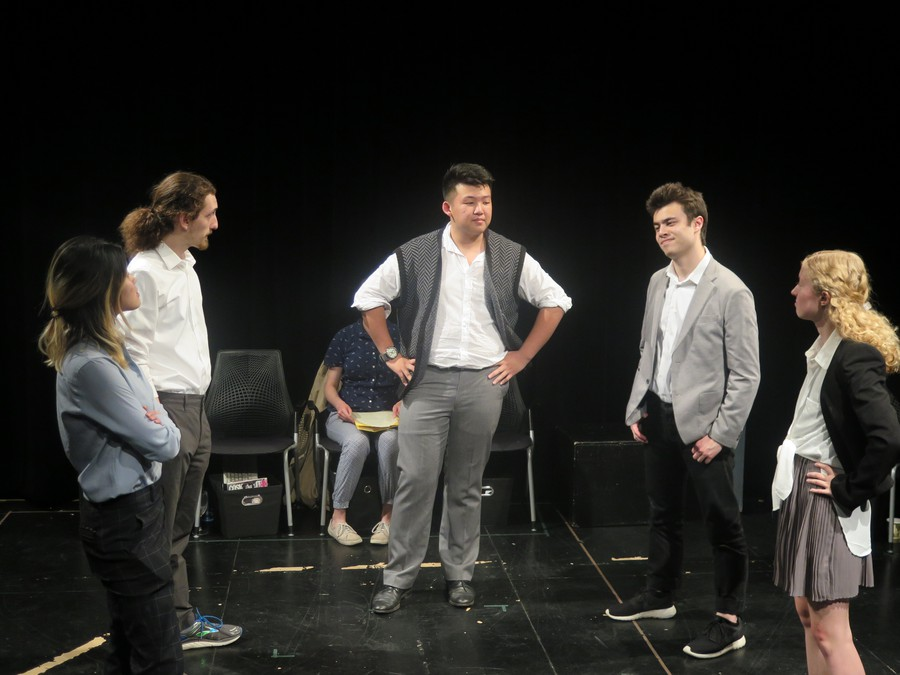 "The cast of ""Yellow Face"": (L to R) Christine Yan, Zander Galluppi, Quinn McKissock (obscured), Brandon Zang, Emil Sohlberg, Hope Gundlah"