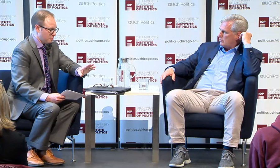 David Wasserman (left) in conversation with House Minority Leader Kevin McCarthy (right).
