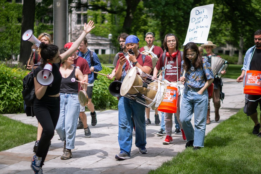 GSU's roving picket line spent the second day of the rally marching around campus with their instruments.