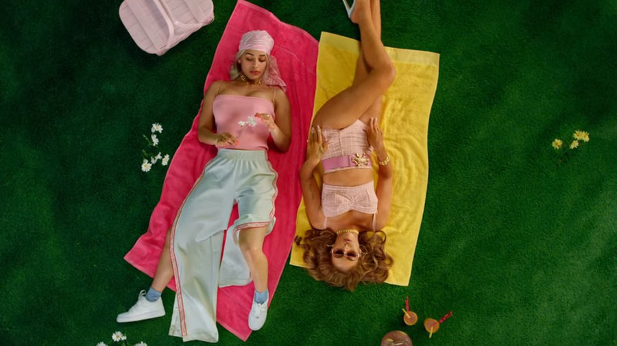 "Kali Uchis (right) and Jorja Smith (left) in the music video for their song, ""Tyrant""."