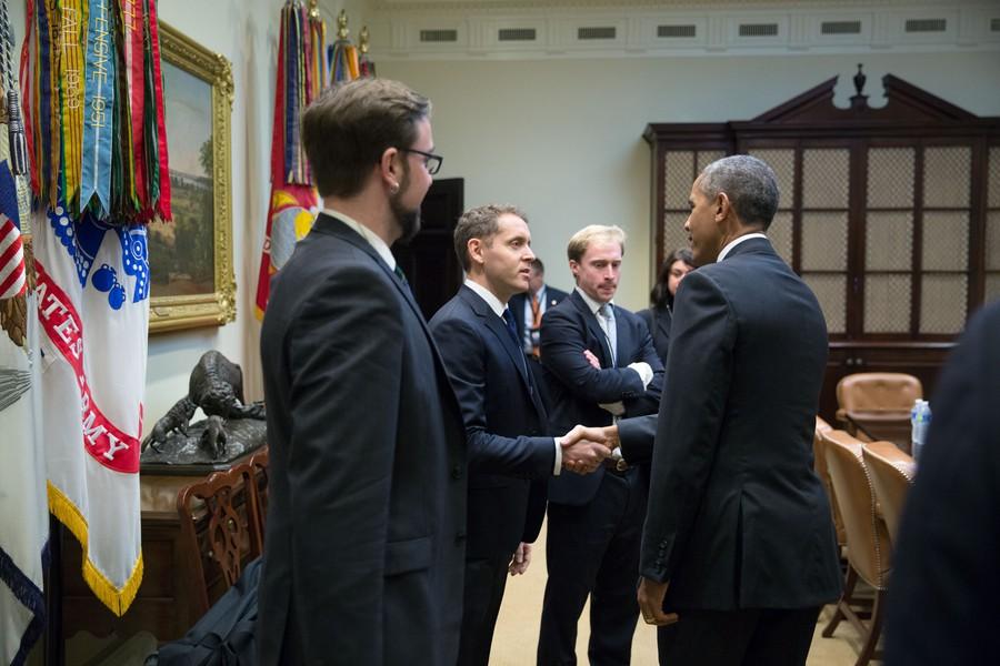 IOP Communications Director Matt Jaffe with former President Barack Obama.