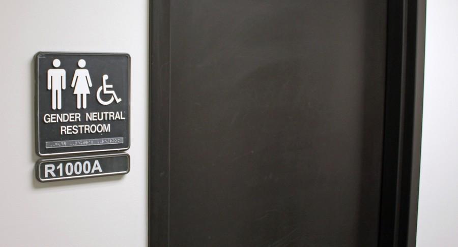 A gender neutral bathroom sign