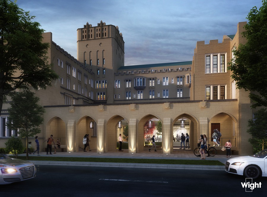A street view rendering of UChicago's new student wellness center.
