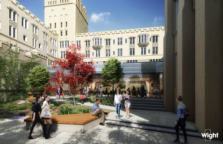 A rendering of the courtyard in UChicago's new student wellness center.