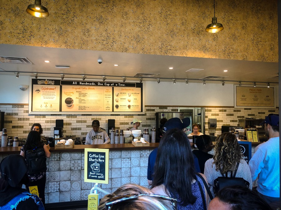 Inside of Philz Coffee on soft opening day
