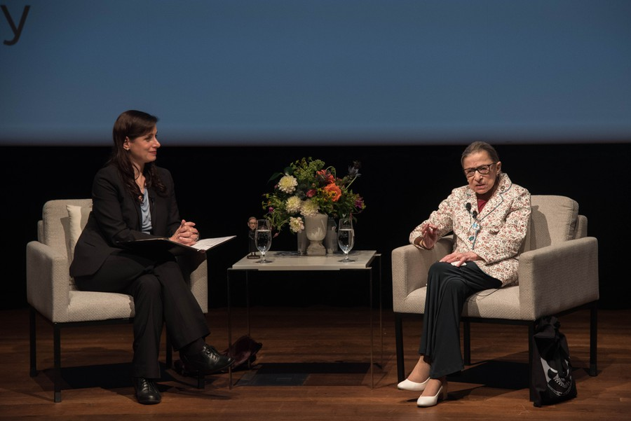 Supreme Court Justice Ruth Bader Ginsburg speaks with Katherine Baicker, dean of the Harris School of Public Policy, as part of her acceptance of the 2019 Harris Dean's Award.