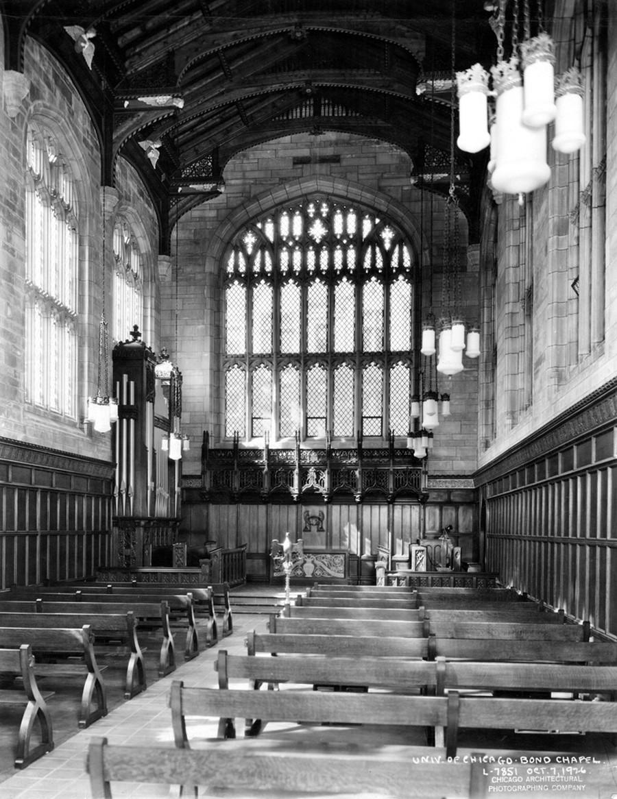 Interior of Bond Chapel, photograph dated 10/7/1926.