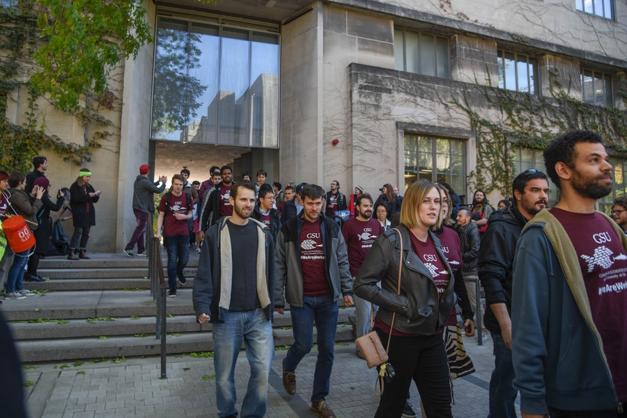 GSU members participate in an October 2018 walkout.