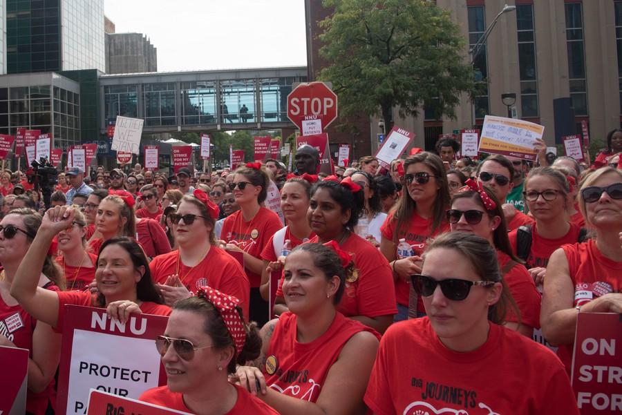 Nurses rally at midday.