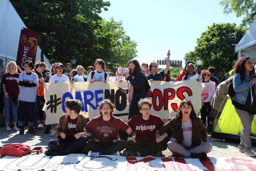 Members of CareNotCops protest in June 2018.
