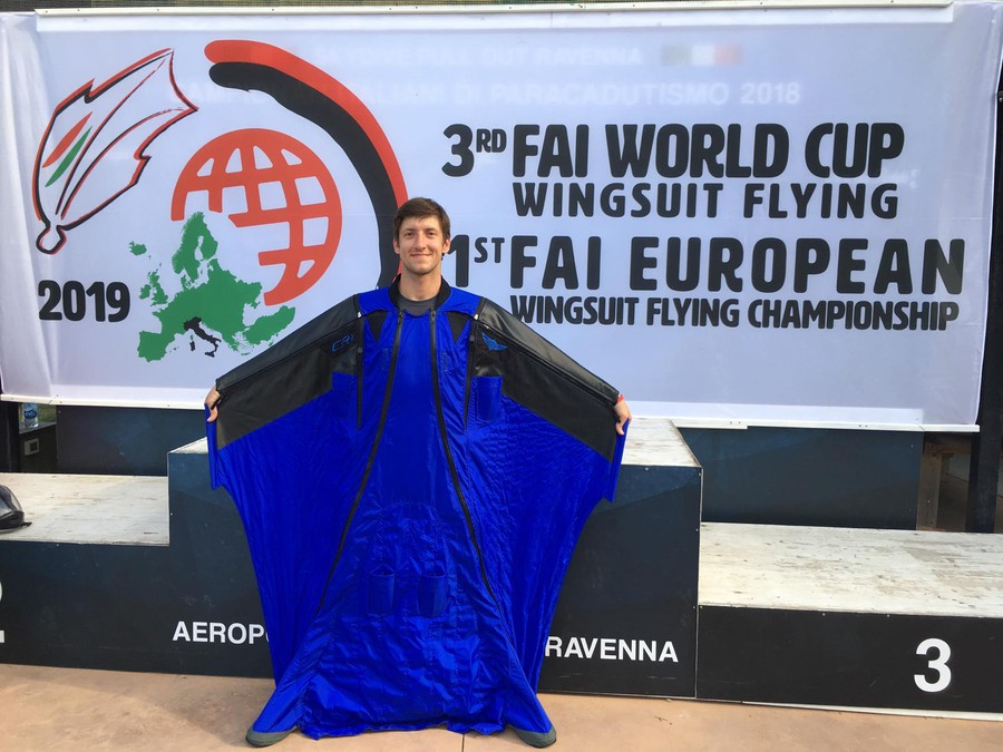 Alexey Galda in his competition wingsuit at the World Cup.