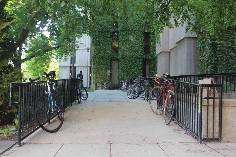 Bicycles locked to the railings of the Regenstein Library's ramp present an obstacle for students using wheelchairs.