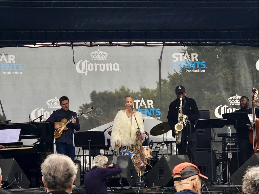 Maggie Brown and her band rock the stage at the Hyde Park Jazz Festival.
