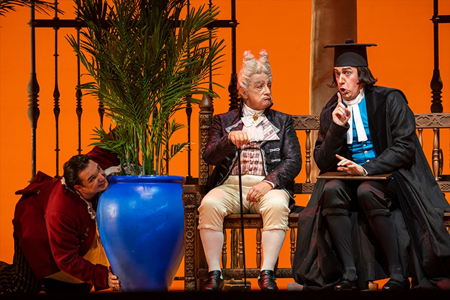 Adam Plachetka, Alessandro Corbelli and Krzysztof Baczyk in the Lyric's uproariously funny production.