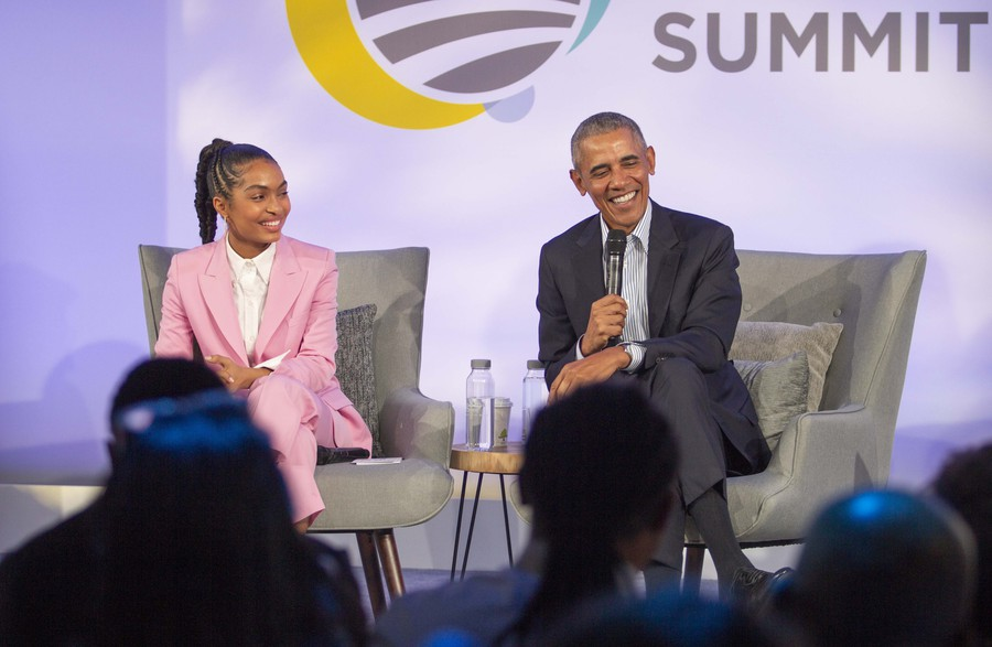President Obama and Yara Shahidi at the Obama Foundation Summit's closing panel on Tuesday.