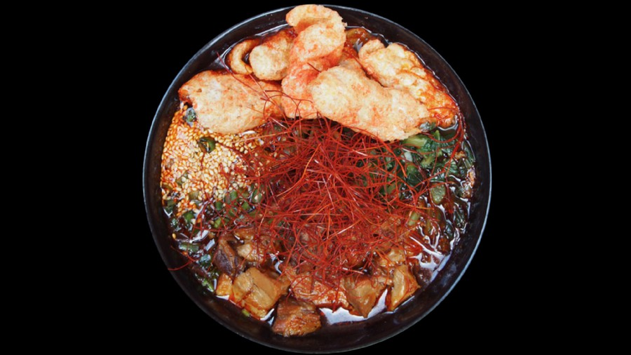 "The ultra-spicy ""Monster Hell Ramen Challenge"" bowl."